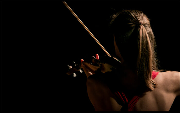 Violinist fotograferad bakifrån i siluett